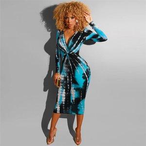 Womens Hip pannello esterno sexy del progettista V Neck Tie Dyeing Stampa vestito da modo adatto di Silm Abiti Bodycon
