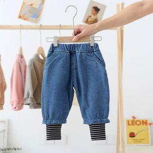 Winter girls patchwork thicken jeans boys warm soft fleece thick denim pants 0-6Y