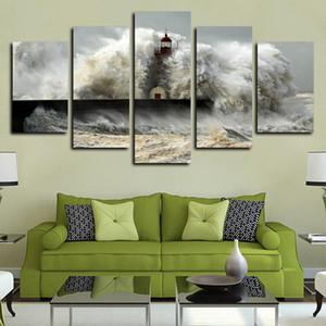 5 Paneller Tuval Wall Art Pictures Duvar yapıtları Boyama Tuval Petrol Sea Wave Etkileri The Lighthouse Seascape Poster Baskı