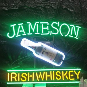 Led sur mesure WHISKEY IRLANDAIS JAMESON Neon Sign Bar Outdoor Light Entertainment affichage en verre Lampe Neon Light Metal Frame 17 '' 20 '' 24 '' 30 ''