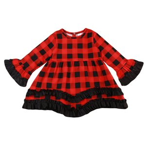 Infantil Criança Crianças Bebés Meninas vestem roupas Outono Vestido comprida feminina Vermelho Manta preta Princesa do Natal Pageant Idade 1-6T