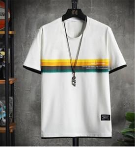 Color de contraste del diseñador del Mens camisetas de cuello de equipo del verano Carta de rayas y tops para hombre suelta de manga corta casuales Tees