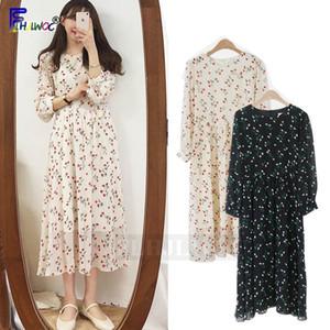Fresh floral dress Women Korean Japanese Style Design A Line Printed Vintage O Neck Date Holiday White Black Chiffon Dress