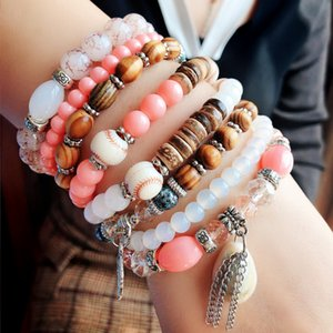 Accessories Bohemia National style color matching female natural shell elastic rope multi-layer hand string beads bracelet summer style