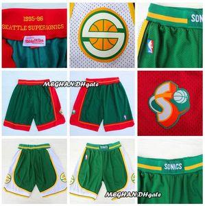 Men pants SeattleSupersonics35 Kevindurant shorts 95-96 retro green ball pants western breathable sweatpants