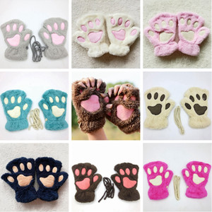 Cute Cat Paw Plush Gloves Soft Winter Warm Gloves Halloween Christmas Cosplay Mittens Kids Women Mittens HHA646