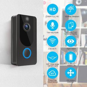 V7 1080P Sonnette sans fil intelligent Caméra IP Sonnette pour Appartement Caméra Vidéo Sécurité Alarme IR Interphone WIFI vidéo cam Sonnette