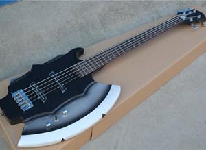 Black 5 Strings Ax E-Bass mit 2 Pickups, Palisander Griffbrett, Chrome Hardware, kann als Antrag besonders angefertigt werden