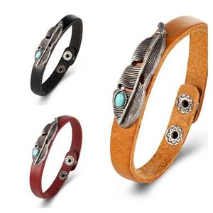 Bracelet en cuir de plume turquoise bracelets rétro Punk pour femmes Hommes Bijoux à la main Bracelet Bangles Bijoux Hommes Bijoux