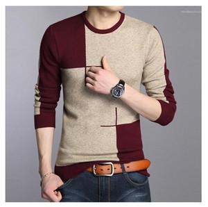 Sleeve Männer Kleidung Panelled Herren Designer Pullover dünne Applikationen runde Kragen-Pullover Herren-Pullover-beiläufige lange