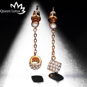 Kadınlar Parlayan Lüks Kristal Küpe için Queen Lotus Yeni Geliş Hollow Davul Bırak Küpe Takı Aksesuar Küpeler