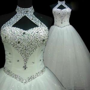 섹시한 고삐 웨딩 드레스 장식 조각 크리스탈 등이없는 얇은 명주 그물은 허리 플러스 사이즈 신부 드레스 바닥 길이 높은 품질 저렴한을 떨어 뜨