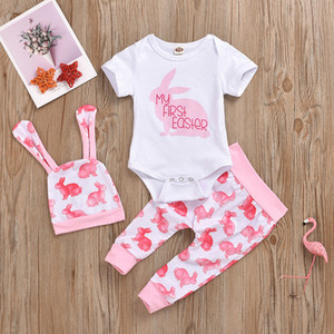 Baby Girl My First Pascua Ropa 3 PCS / Set Momper Pants Pantalones Sombrero con la oreja de conejo Impreso Mangas cortas 2020 Nuevo