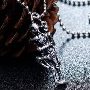 Los hombres calientes Infinity Tíbet Plata Negro Hombres Infinity acero inoxidable colgante del cráneo esquelético Declaración de la cadena del collar