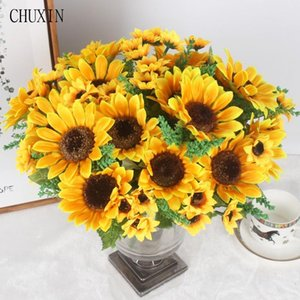Autumn Decoration 13 Heads Yellow Sunflower Silk Artificial Flowers Bouquet For Home Decoration Office Party Garden Decor T191029