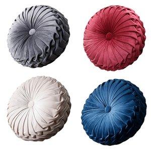 European Style Round Seat Cushion Back Cushion Or As Sofa Pillow Bed Pillow Velvet Fabric Pumpkin Seat Cushion 36X36X11Cm -Sapph