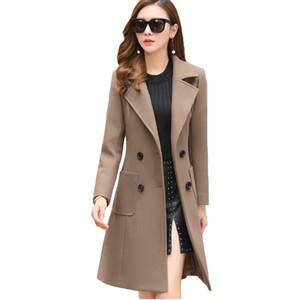 Mulher do inverno VogorSean Coats lã quente 2018 Slim Fit Moda Casual Escritório Misturas Womans lã casaco Jacket Khaki Exército / verde