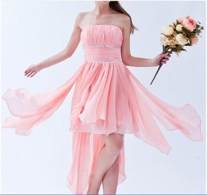 Sexy Strapless Crystal A-Line Homecoming Dress With Pleat Chiffon Hi-Lo Graduation Prom Party Gown BH13