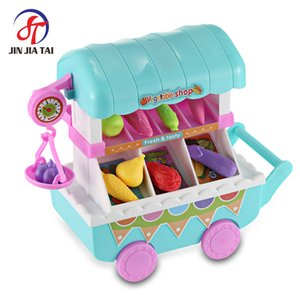 Hot Sales Kids Household Play set Music Light Simulation Vegetables Shopping Cart Household Pretend Play set Kids Model Toys
