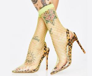 Moraima Snc Neueste dünne Fersen Frau Schuhe Spitze Zehe-Leopard druckte-Absatz-Sandelholz Boots Mesh-Gitter Ausschnitte Kleid-Schuhe