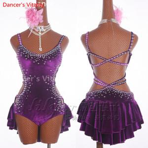 2018 Profesional barato atractivo de baile latino vestido de las mujeres profesionales de la falda América Samba Dance Salsa vestidos de diamante