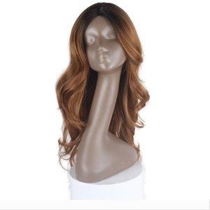 613 Blonde Ombre Parrucca Colore diritta viola dell'onda del corpo di parrucche 2 # 4 # qualità di calore ad alta resistenza blu sintetico Etero parrucche del merletto