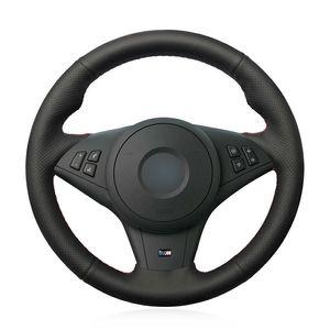 Tampa de volante de carro de couro artificial preto para BMW E60 E63 E64 Cabrio M6