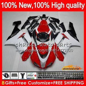 Bodys + 8Gifts para a Kawasaki ZX 6R 6 R 600cc ZX636 07 08 34HC.21 ZX636 ZX600 600 branco novo ZX6R vermelho 07 08 ZX 636 ZX6R 2007 2008 Fairing kit