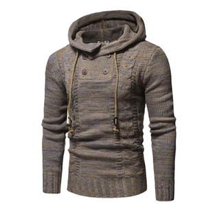 Mens Wool Sweater Pullover Long Sleeve Hooded Sweatcoat Sweater Jumper Knitwear Winter Cashmere Outerwears Male M-XXL