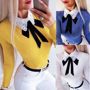 T shirt HIRIGIN Donne Moda T-shirt Slim pizzo Papillon maniche Partito Tops nuovi Lady Autunno Pullover Tee