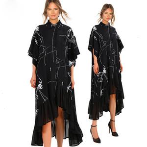 2019 Femmes d'été Taille Plus Long Black Casual Shirt Robe à volants à rayures irrégulières Imprimer Party Club Robe Robe Femme 3751