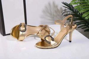 Sommer Goldkleid Hochzeit Sandalen aus echtem Rindsleder mit dickem Absatz Damen Sandalen Metallschnalle Abnutzungsschnalle