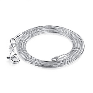 925 Sterling Silver Snake Chain Necklace for Women Pendant Necklace Jewelry Making Lobster Clasp Size 1.2mm Lenght 10