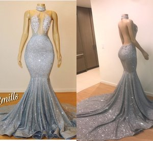 Gümüş Payetli Mermaid Uzun Gelinlik Modelleri Yüksek Boyun Hollow Out Dantel Aplike Seksi Backless Örgün Abiye giyim Uzun Mahkemesi Tren