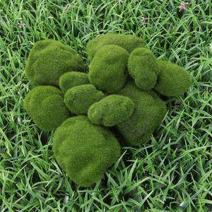 Simulation Moss Irregular Green Stones Grass Garden Plant DIY Micro Landscape Decoration Fake Plants(12 Moss Stones)