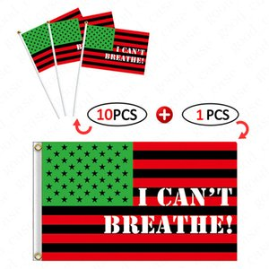 90*150CM Americana Banners and Hand Signal Flag 11pcs lot=1big+10small I CAN'T BREATHE FLAG New Design BLACK LIVES MATTER Parade Flags D6413