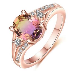Anello di zircone rotondo di alta qualità romantico anello liscio dito delle donne pavimentato reale anello di cristallo di colore oro rosa regalo di nozze