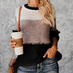 2020 Women Winter Long Sleeve Crewneck Knitted Pullover Sweater Vintage Splice Casual Fall Womens Sweaters Pullovers Tops
