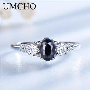 Umcho Luxury Natural Blue Sapphire Princess Diana Anelli Genuine 925 Sterling Silver Anelli di fidanzamento per le donne Gioielli da sposa J190707