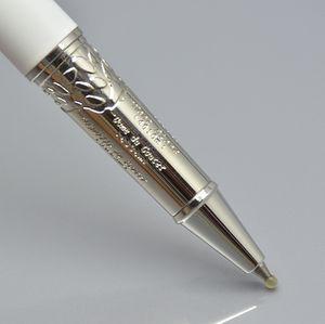 Dia das Mães Top Quality MB Pens Para Presente Prata Branco Clipe 163 Rollerball Pen / Ball Pen Stationery Office Marca Refill Pen Com Número de Série