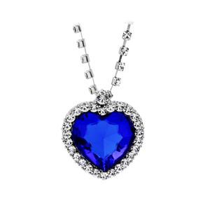 Titanic oceano coração pingente colares para as mulheres de cristal azul strass banhado a prata de metal choker colar de jóias por atacado