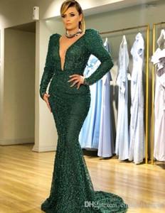 Zuhair Murad 2019 Koyu Yeşil Boncuk İnciler Mermaid Abiye Derin V Boyun Balo Elbise Uzun Kollu Artı Boyutu Örgün Parti Törenlerinde