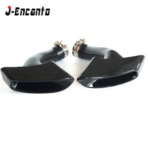 Car Styling Glossy Carbon-Faser-Auspuffanlagen Schalldämpfer Spitze Rohr Trim Endrohre für M Performance BMW X6 E71 E72 2008-2013