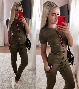 2020 womens designer printed sport suits short-sleeve shirts and pants two piece sets outfits suits tracksuits size S~XXL