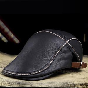 JA0301 2020 Autumn Man Brand Genuine Leather Beret Hats Male Fashion Forward Caps Duckbill Adjustale Casquette Boina Trucker Cap