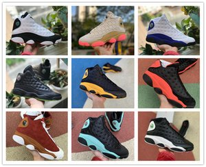 Stock X 13 13s mens basketball shoes wolf grey island green black cat History of Flight He Got Game DMP sports Sneakers 7-12