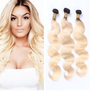 Ombre brasileña mechones de cabello rubio Virgen del pelo humano teje 1B 613 Rubio dos tonos bruto Peruvain extensiones de cabello mongoles de la India