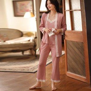 Para mujer del verano del algodón pijama de manga larga de la liga del kimono de tres piezas Pijama Conjunto atractivo y encantador de Corea ropa de noche de casa Ropa