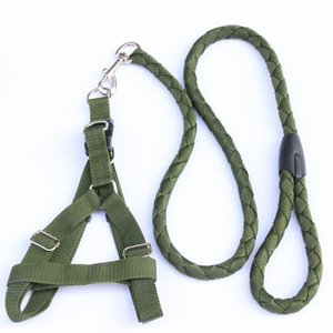 Pet Traction Rope Exército Verde Grande Dog Corda Collar Cadeia Dog Anel Chest Strap Harness Leash de Médio e Grande