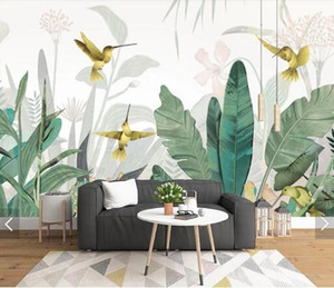 3D Tropical Banana Blätter Vogel Wallpaper Wandbild für Wohnzimmer-Wand-Dekor handgemaltes Kontakt Papiertapeten Wand-Papier anpassen